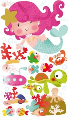 Little Mermaid Parties, The Little Mermaid, Crafts For Kids, Arts And Crafts, Paper Crafts, Images Kawaii, Cute Clipart, Felt Patterns, Cute Illustration
