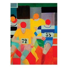 The Runners by Robert Delaunay Postcard - modern gifts cyo gift ideas personalize