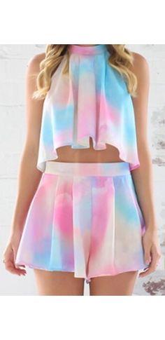 White Light Pink Blue Tie Dye Sleeveless Halter Tie Neck Loose Pleated Crop Top Short Two Piece Romper