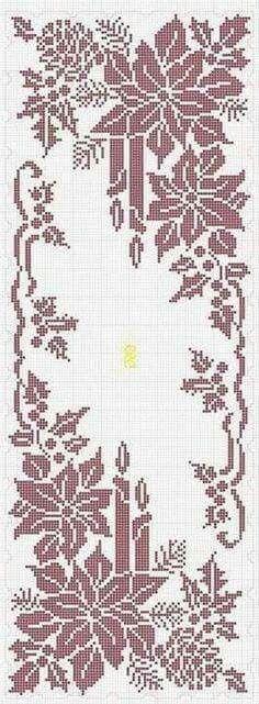 Ideas for crochet table runner chart cross stitch Xmas Cross Stitch, Cross Stitch Charts, Cross Stitch Designs, Cross Stitching, Cross Stitch Embroidery, Cross Stitch Patterns, Crochet Christmas Wreath, Holiday Crochet, Christmas Cross