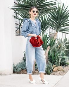Elizabeth Lee (Stylewich) - The Row Ascot Velvet Bag, No. 21 Pumps, J. Pantalon Slouchy, Slouchy Pants, Mode Outfits, Casual Outfits, Fashion Outfits, Womens Fashion, Street Chic, Street Style, Moda Casual