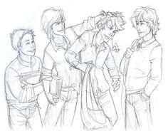 left to right: Peter Pettigrew, Sirius Black, James Potter, Remus Lupin