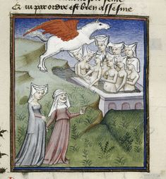 Queen's Book, fol. 183. Pegasus. BL MS Harley 4431, The Book of the Queen, Selected Works of Christine de Pizan, 1410-1414AD.