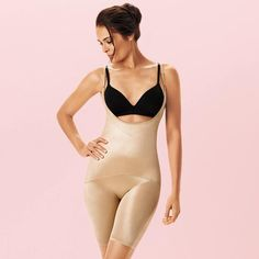 Thigh-and-waist slimmer with maximum-compression panel to wear with your favorite bra. Ultralightweight with adjustable straps. Nylon/spandex with polyester/spandex panel. Hand wash, line dry. Imported. While Supplies Last