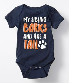 LC Trendz   Navy 'My Sibling Barks and Has a Tail' Bodysuit - Infant