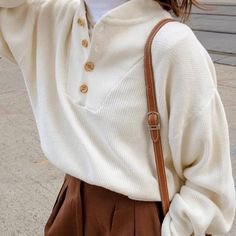SOLD Vintage ivory cotton Henley, best fits s-l. Minor vintage wear, adds c. Pretty Outfits, Winter Outfits, Cute Outfits, Vintage Outfits, Vintage Fashion, Vintage Clothing, Clothing Ideas, Vintage Mode, Vintage Wear
