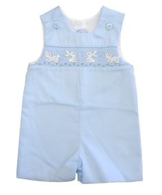 Cute Easter Outfit for Boys: Blue Shortall with Bunny Smocking in Sizes 3 Months, 6 Months, 9 Months, $52.00