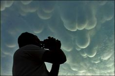 Storm Chaser and Mammatus Clouds