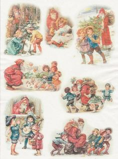 Rice Paper for Decoupage Decopatch Scrapbook Craft Sheet Vintage Happy Christmas