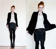 black jacket + white blouse + black skirt + black tights + black boots