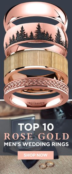 Looking for the perfect rose gold wedding band? Check out our most popular rose gold men's wedding rings. #weddingring