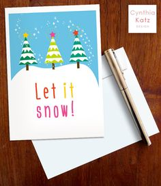 Christmas Printable Card with Snowy Christmas by CynthiaKatzDesign #christmascard #diycard