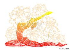Vector: Vector silhouette of yoga woman floral ornament.