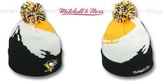 Penguins 'PAINTBRUSH BEANIE' by Mitchell and Ness on hatland.com