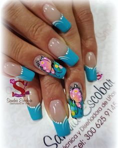 Love these nails😘😍😍 Butterfly Nail Designs, Butterfly Nail Art, Colorful Nail Designs, Gel Nail Designs, French Nails, Cute Nails, Pretty Nails, Exotic Nails, Finger Nail Art