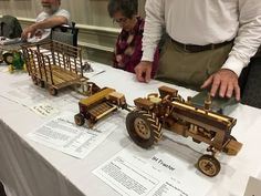 Amazing Hand Made Toy Wooden Tractors and Farm Machinery - YouTube
