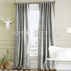 Two Panels  Stylish Solid Polyester Energy Saving Curtain  2017 - $54.13