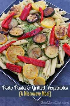 This Pesto Pasta with Grilled Vegetables recipe is made completely in the microwave! Bump this to the top of your easy dinner recipes list. Good food made fast. Yes, please!