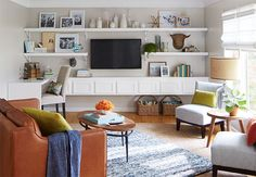 A white wall of shelves and cabinets - Sherwin Williams Eider White