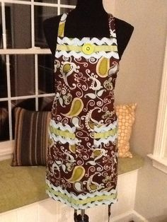Brown blue olive paisley apron