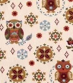 Keepsake Calico Print Owls & Medallion On Beige