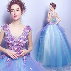 Blue flowers deep v collar bridal wedding dress Performance dress