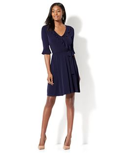 Shop Ruffled Wrap Dress. Find your perfect size online at the best price at New York & Company.