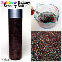 """Both children and adults will love this rainbow galaxy sensory bottle. Calm down bottles like this are most often used for no mess sensory play, to help calm an overwhelmed child, as a """"time out"""" timer, or as a meditation technique for children. They are just as effective for adults."""