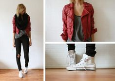 H circle scarf and tanktop; Bershka red leather jacket; Topshop jeans; Converse All-stars.