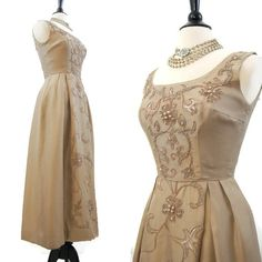 60s Gown Vintage Mocha Silk with Soutache and Beaded Design Evening Formal Dress S