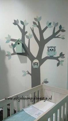 behangboom mintgroen-grijs tinten, stam kleur donker grijs