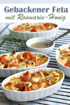 This baked feta cheese with tomatoes and rosemary maple syrup is a very quick, simple and very tasty starter, side dish or tapas dish. It fits in summer when you are sitting on the terrace with friend Veggie Recipes, Healthy Recipes, Tapas Dishes, Vegetable Drinks, Healthy Eating Tips, Winter Food, Queso, Food Inspiration, Macaroni And Cheese