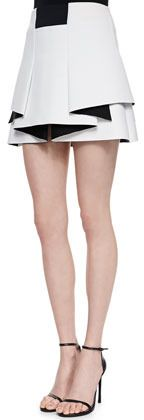 Robert Rodriguez Two-Tone Bonded Knit Skirt