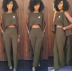 Military green slacks and crop top African Women, African Fashion, Diy Fashion, Fashion Dresses, Fashion Design, Nigerian Outfits, Outing Outfit, Smoking, Mode Chic