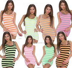 Minikleid Longshirt Party Kleid Streifen Neon Longtop TankTop Shirt 36,38