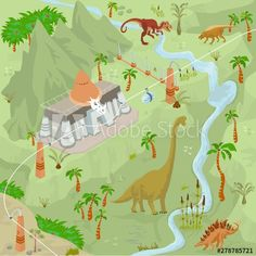 Dinosaurs adventure theme park fantasy map scene of lost world, animals and plants lot 1 - Buy this stock vector and explore similar vectors at Adobe Stock Fantasy Map, Dinosaurs, Scene, Stock Photos, Explore, Adventure, Park, World, Animals