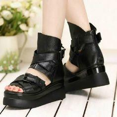 Women Black Leather Platform Gladiator Punk Goth Summer Boots Sandals  SKU-11405274
