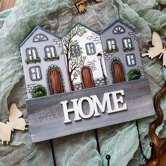Scrap Wood Crafts, Wood Block Crafts, Wooden Crafts, Wooden Diy, Crafts To Do, Home Crafts, Diy Home Decor Projects, Wood Projects, Wooden House Decoration