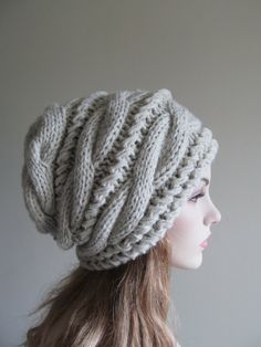 Slouchy Beanie Slouch Hats Oversized Baggy Gray cabled hat womens Fall Winter accessory Grey Heather Hand Made Knit