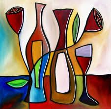 Violette woman Acrylic Painting by TheStudioBurke on Etsy Wine Painting, Easy Canvas Painting, Canvas Art, Cubism Art, Wine Art, Art N Craft, Arte Pop, Pastel Art, Art Lessons