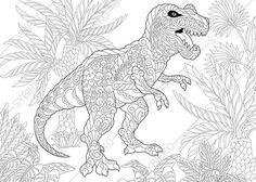 Dinosaur Tyrannosaurus Adult Coloring Book Page. Zentangle