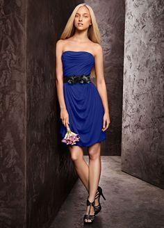 Chiffon Short Soft Strapless Draped Bridesmaid Dress with Belt - Sapphire (Blue), 8