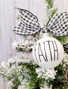 These look-alike ornaments are easy to make! I'm sharing a tip for making sure your vinyl letters are perfectly straight on a round ornament. Check it out at diy beautify! (handmade christmas presents ornaments) White Ornaments, Diy Christmas Ornaments, Christmas Balls, Holiday Crafts, Christmas Decorations, Ornaments Ideas, Buffalo Plaid Christmas Ornaments, Christmas Vinyl, Christmas Music