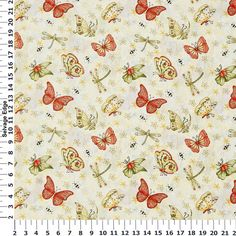 Absolutely Butterflies & Bees Ecru Cotton Fabric/ Drapes for the Dining Room