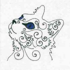 "This free embroidery design is called ""Swirly Cat Face""."