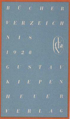 Bücherverzeichnis 1928, Potsdam: Gustav Kiepenheuer Verlag. Cover by Georg Salter.