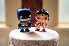 Batman and Wonder Woman cake toppers