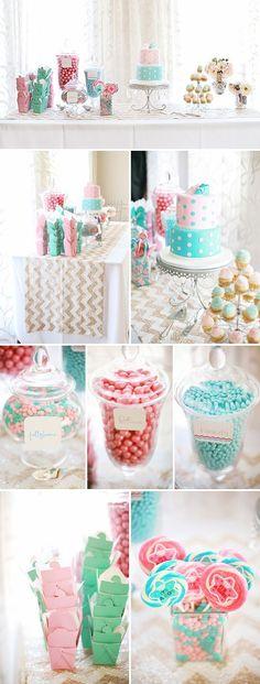 Mesa dulce de colores Rosa Cuarzo y Azul Serenidad para bodas y eventos. #MesasDulcesCali