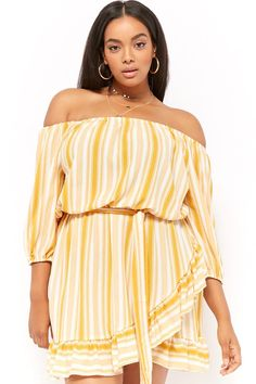 7328995e7dd Product Name Plus Size Crepe Striped Off-the-Shoulder Ruffle-Trim Mini ·  Knit Sweater DressForever 21 ...