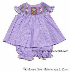 Clair & Charlie Baby / Toddler Girls Purple Polka Dot Smocked Rapunzel Bloomers Set
